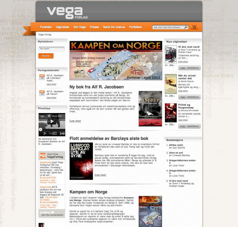 Skjermbilde av Vega Forlags webside