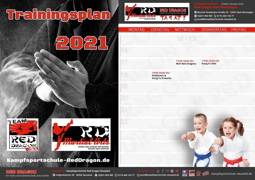 Trainingsplan Kampfsportschule Bad Hönningen2021