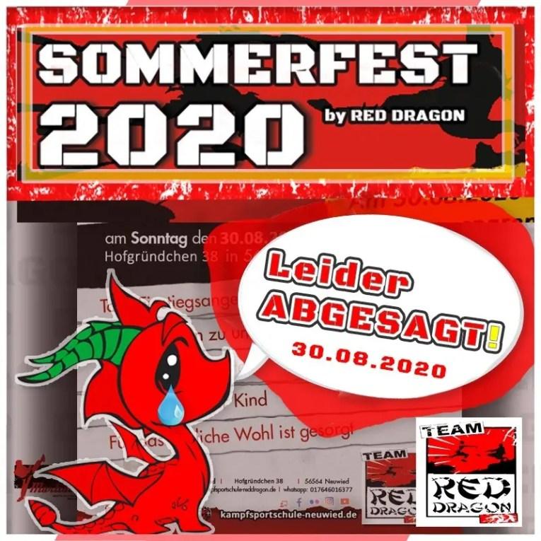 Absage Kampfsportschule Sommerfest 2020