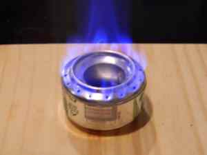 This homemade alcohol stove is made out of a soda can and is extremely lightweight.
