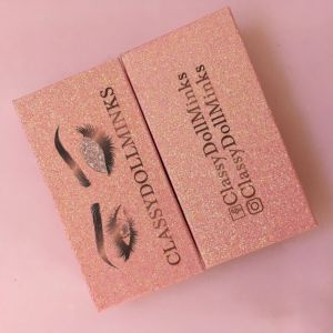 Wholesale Pink Glitter Lash Packaging Boxes With Logo