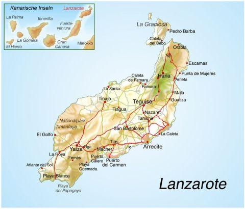 Landkarte Lanzarote