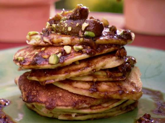 Orange Ricotta Pancakes with Pistachio and Fig Compote