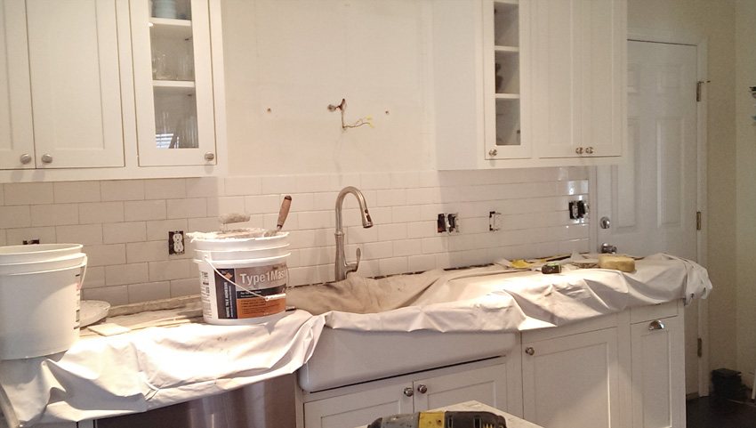 Kitchen Remodel white subway tile backsplash