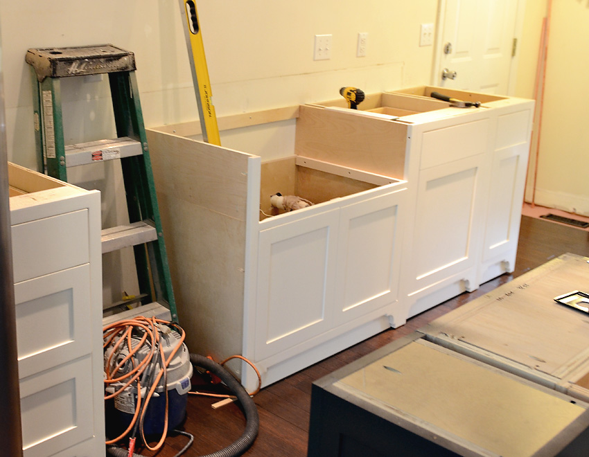 Kitchen Remodel Custom Cabinets Install sink wall
