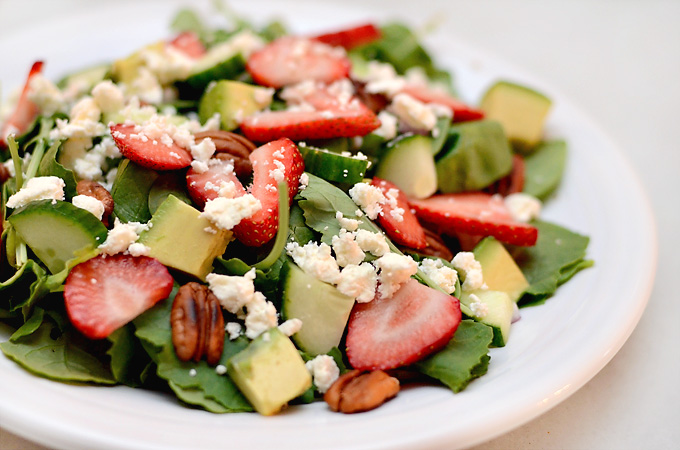 Strawberry Avocado Spinach and Kale Salad