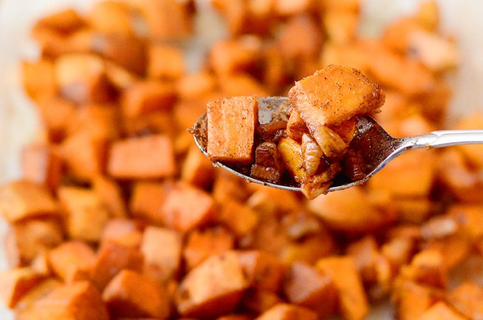 Honey Ginger Roasted Sweet Potatoes with Pecans