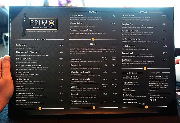 Primo-Italian-Restaurant-Sunsphere-Knoxville-Menu