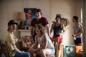 Left to right: Austin Amelio plays Nesbit, Tanner Kalina plays Brumley, Forrest Vickery plays Coma, Tyler Hoechlin plays McReynolds and Ryan Guzman plays Roper in Everybody Wants Some from Paramount Pictures and Annapurna Pictures.