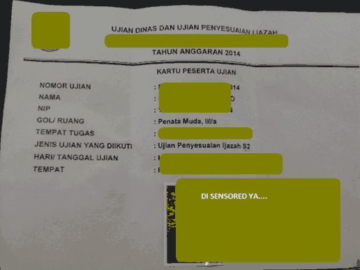 kartu ujian dinas pns