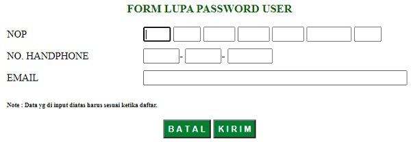 form lupa password