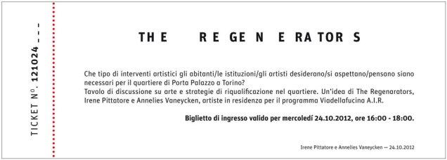 Irene Pittatore + Annelies Vaneycken - The regenerators - 2012 (verso)