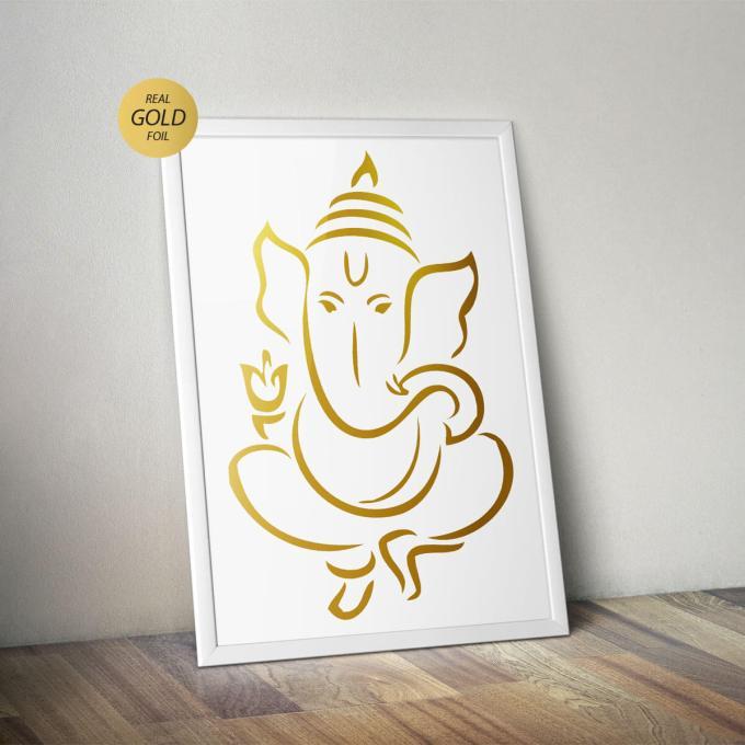 Ganesh Wall Art, Gold Foiled (GFW15)