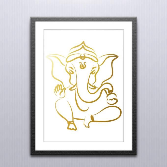 Ganesh Wall Art, Gold Foiled (GFW17)