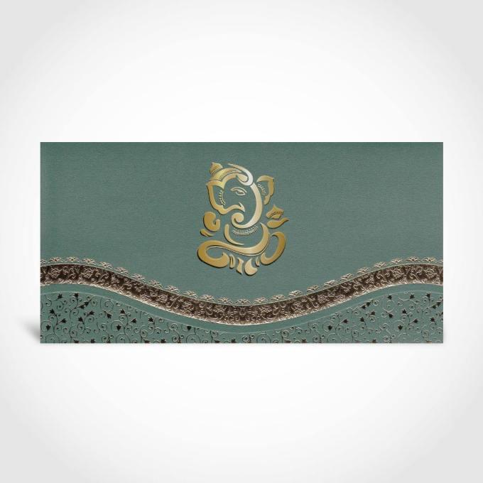 Emerald Green Hindu Wedding Card – CFK17