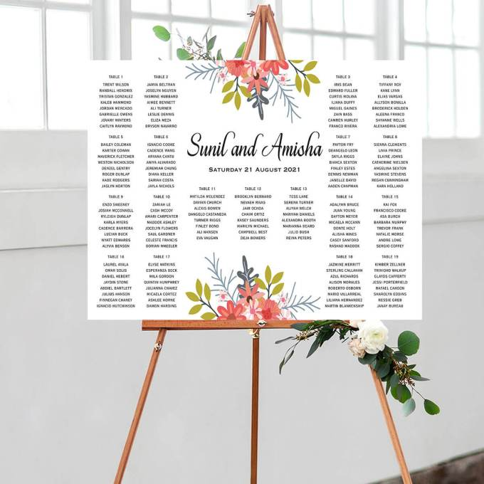 Floral Wedding Seating Chart – 4