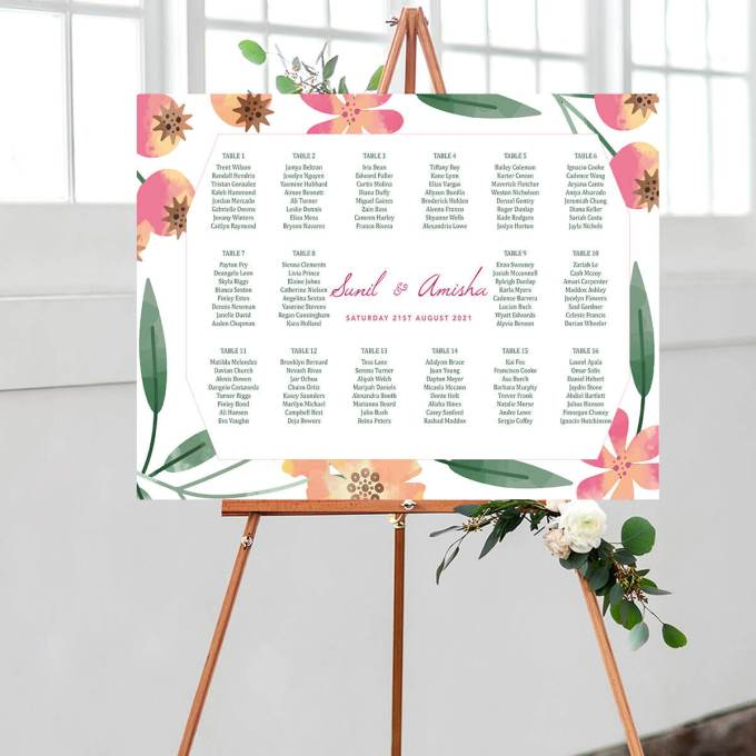 Floral Wedding Seating Chart – 8