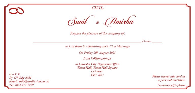 Hindu Wedding Wording DL Size Set 1 for Indian Wedding Cards CardFusion