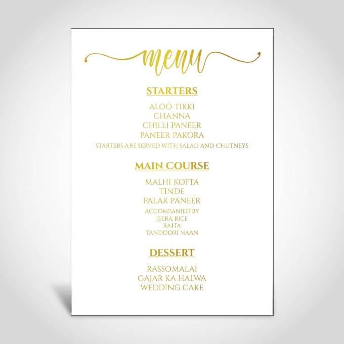 Wedding Menu Card – Gold Foiled – 1
