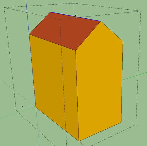 屋根面の分割線を持ち上げて切妻屋根を作る