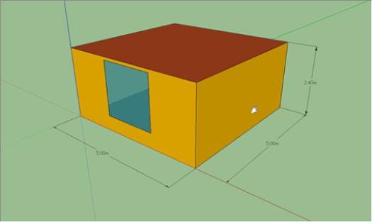 検証用にTRNSYS3Dで簡単なモデルを作成