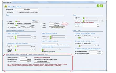 Figure 9: Window Type manager – optional daylight properties
