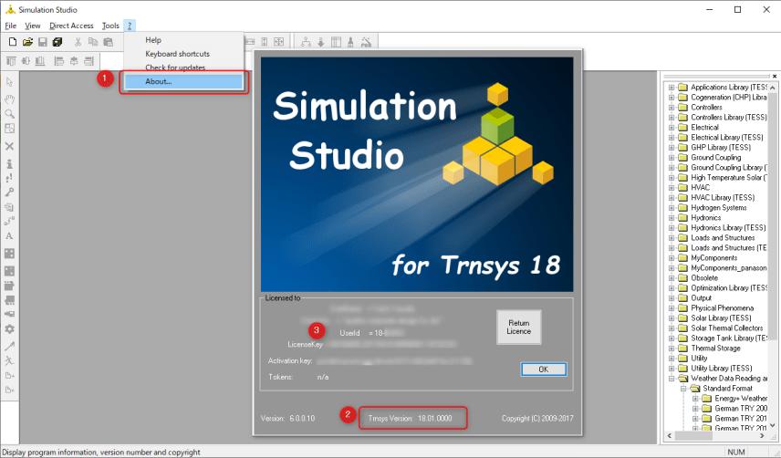 TRNSYSのバージョン情報とユーザーID