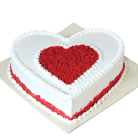 Buy Red White Heart Birthday Cake Delivery Kanpur Gifts