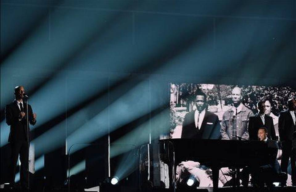 Common, left, and John Legend perform at the 57th annual Grammy Awards on Sunday, Feb. 8, 2015, in Los Angeles. (Photo by John Shearer/Invision/AP)