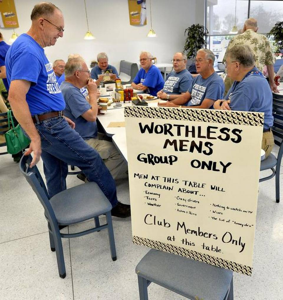 The Worthless Men's Breakfast Club convenes on Wednesdays for coffee, complaining and comradeship at a Hy-Vee supermarket's restaurant in Independence. Joe Miller joined the crowd at a recent gathering.