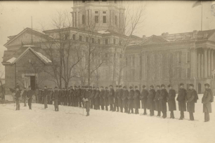Topeka and Wichita militia, Batteries A & B, in formation at the Kansas Statehouse in Topeka, Kansas, during the Populist War.