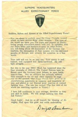 [photograph: General Eisenhower 'Ike' D-Day message handed out to D-Day troops. Courtesy: Gary Ames.
