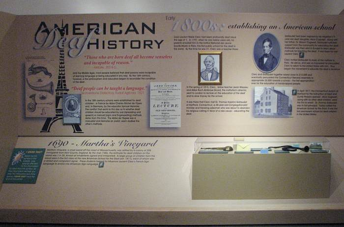 A picture of an exhibit in the Deaf Cultural Center - talks about American Deaf History.