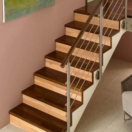 Ringhiera scala serie Inox Design con corrimano in legno fissaggio laterale