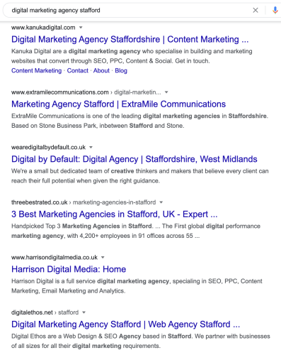 Example of SERPs and how with local SEO implemented can help small businesses compete with big directories.