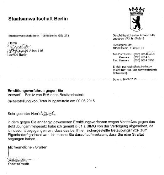 Brief Von Staatsanwaltschaft