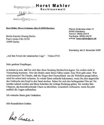 Post Von Horst Mahler Allgemeines Kanzlei Kanzlei Hoenig Info