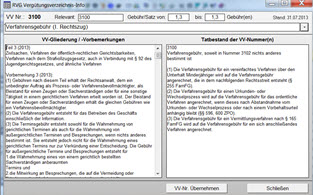 RVG 2013 Info-Fenster / relevante Text Auszüge aus dem Vergüntungsverzeichnis, VV im Stand vor und nach dem 2. Kostenrechtsmodernisierungsgesetz / 2. KostRMoG - Highlight aus dem Anwaltssoftware Upgrade LawFirm 8.2r (Anklicken zum Vergrößern)