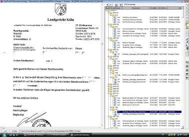 Dokumentenviewer in der Anwaltssoftware LawFirm - dynamische Baumstruktur, Dokumentenmanagement, Know-How, Wissensmanagement in der Kanzleisoftware