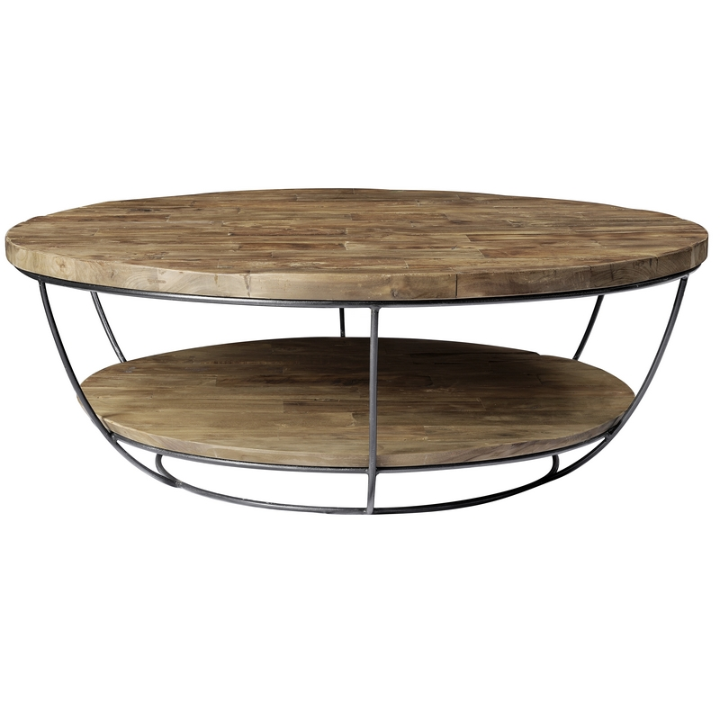 table basse ronde double plateaux