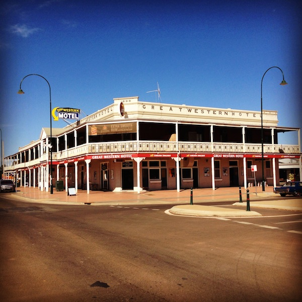 The Great Western Hotel in Cobar built in 1898. It has New South Wales' largest verandah at 100m long!