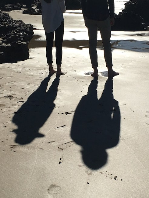 People's shadows on Anglesea Beach, Great Ocean Road