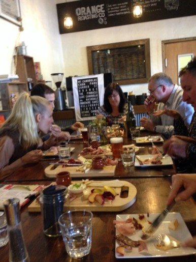 People eating lunch at The Agrestic Grocer, Orange Wine Tours