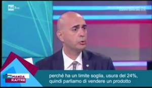 Stefano Fabiani, presidente dell'Associazione Emergenza Debiti, mentre in TV racconta della sua esperienza maturata con i casi vinti