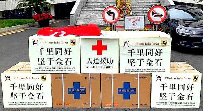 A Napoli arrivano 20mila mascherine donate dalla città di Chengdu