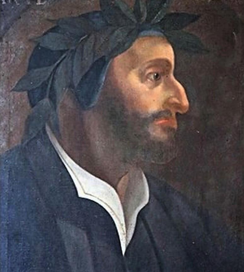 Dipinto ritrovato a Orvieto di un Dante inedito raffigurato con la barba ispida e scura.