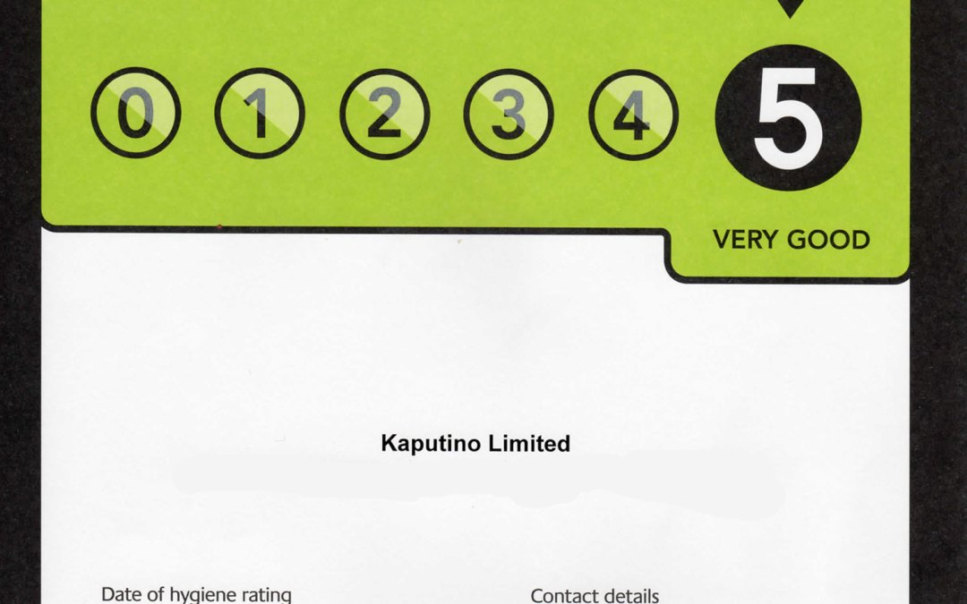 Kaputino receive a five star hygiene rating