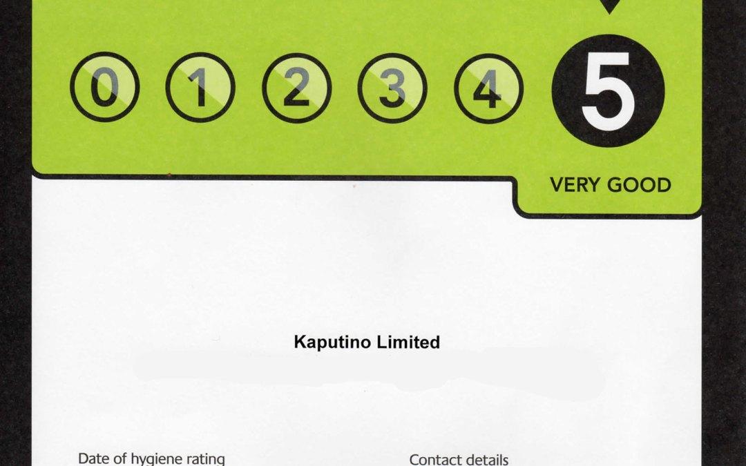 Kaputino receive a five star hygiene rating