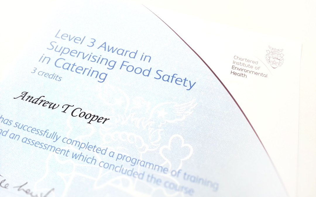 CIEH Level 3 Award in Food Safety in Catering with merit for Kaputino® Director, Andrew Cooper