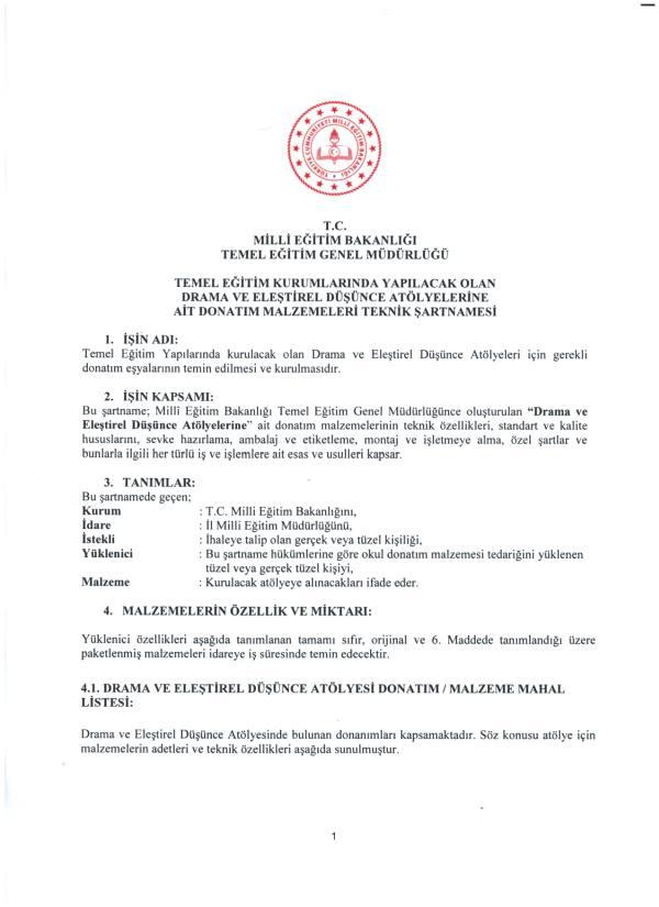 Karagöz Hacıvat gölge oyunu seti şartnamesi